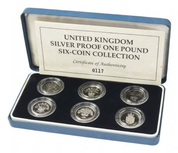 RARE United Kingdom 6 Coin Silver Proof One Pound Collection